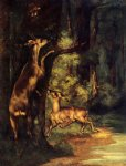 gustave courbet male and female deer in the woods painting-32767
