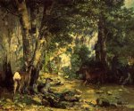 gustave courbet the shelter of the roe deer at the stream of plaisir painting-32818
