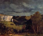 the valley of the loue in stormy weather by gustave courbet painting
