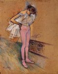 henri de toulouse lautrec dancer adjusting her tights painting