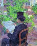 henri de toulouse lautrec desire dehau reading a newspaper in the garden paintings