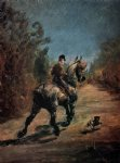 henri de toulouse lautrec horse and rider with a little dog painting