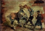 henri de toulouse lautrec horse fighting his groom painting 32559