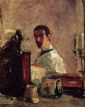 portrait paintings - self portrait in front of a mirror by henri de toulouse lautrec