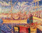 boats in the port of st. tropez by henri edmond cross painting