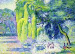 henri edmond cross family of swans painting