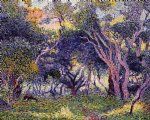 henri edmond cross in the woods painting
