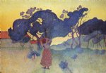 henri edmond cross the farm evening painting