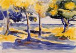 henri edmond cross trees by the sea painting