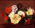 henri fantin latour bouquet of roses and nasturtiums painting 77740