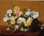 henri fantin latour bouquet of roses and other flowers painting 77741