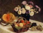 henri fantin latour flowers and fruit a melon painting 78922