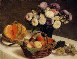 henri fantin latour flowers and fruit a melon painting 32218