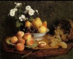 henri fantin latour flowers and fruit on a table painting 78923