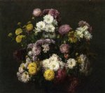 flower paintings - flowers chrysanthemums by henri fantin latour
