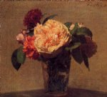 flower paintings - flowers in a vase by henri fantin latour
