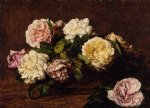 rose paintings - flowers roses ii by henri fantin latour