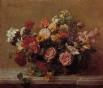 flower paintings - flowers vii by henri fantin latour