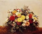 henri fantin latour large vase of dahlias and assorted flowers art