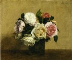 rose paintings - roses 15 by henri fantin latour
