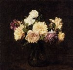 rose paintings - roses 16 by henri fantin latour