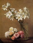 henri fantin latour roses and lilies painting 32269