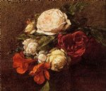 rose paintings - roses and nasturtiums duplicate image by henri fantin latour