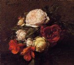 rose paintings - roses and nasturtiums by henri fantin latour