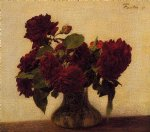 rose paintings - roses foncees sur fond clair by henri fantin latour