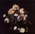 henri fantin latour roses in a basket on a table painting 32274