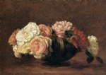 roses in a bowl by henri fantin latour painting
