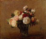 henri fantin latour roses in a glass vase ii painting 32275