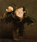 henri fantin latour roses in a tall glass painting