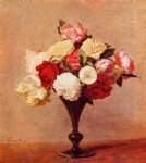 rose paintings - roses in a vase iv by henri fantin latour