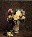 rose paintings - roses in a white porcelin vase by henri fantin latour