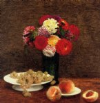 still life dahlias in a green vase by henri fantin latour painting