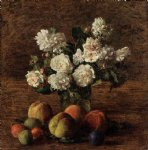 henri fantin latour still life roses and fruit painting