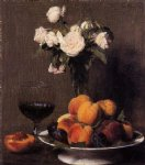 henri fantin latour still life with roses fruit and a glass of wine painting