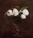rose paintings - vase of roses by henri fantin latour