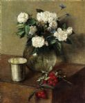 henri fantin latour white roses and cherries painting