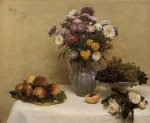 henri fantin latour white roses chrysanthemums in a vase peaches and grapes on a table with a white tablecloth painting