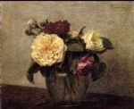 henri fantin latour yellow and red roses painting