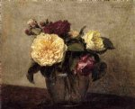 henri fantin latour yellow and red roses painting 32337