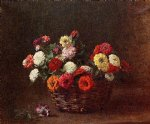 henri fantin latour paintings - zinnias ii by henri fantin latour