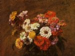 henri fantin latour paintings - zinnias in a vase by henri fantin latour