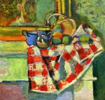 still life checked tablecloth by henri matisse painting
