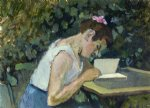 woman reading in a garden by henri matisse painting