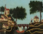 henri rousseau landscape with bridge painting 32060