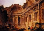 interior of the temple of diana at n锟絤es by hubert robert painting