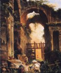 roman ruins by hubert robert painting